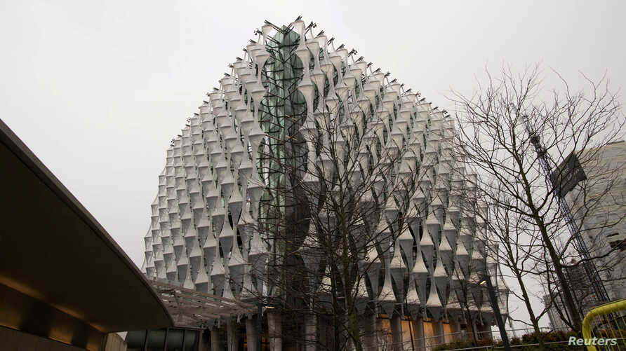 FILE - The new United States embassy building is seen during a press preview near the River Thames in London, Dec. 13, 2017