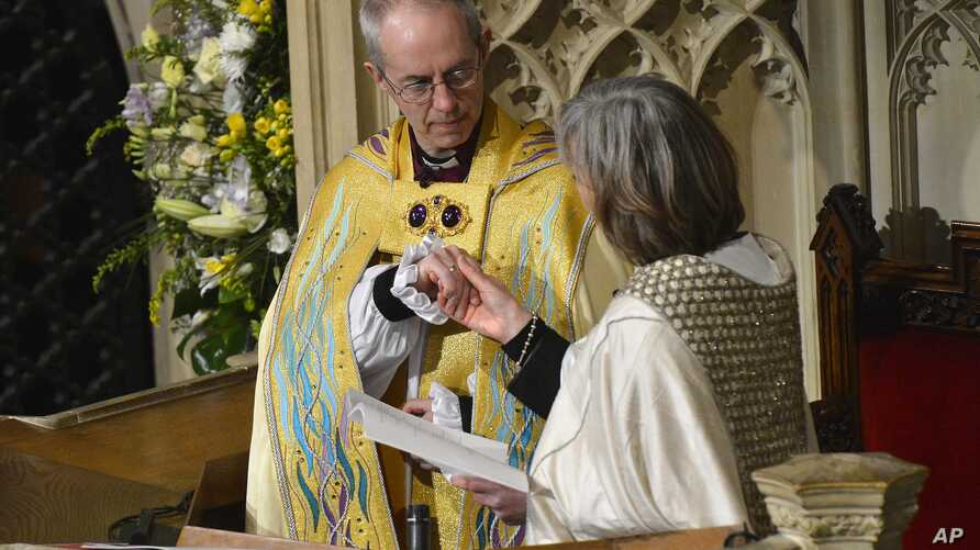 New Archbishop of Canterbury, Justin Welby, attends his enthronement ceremony at Canterbury Cathedral, southern England, March 21, 2013.