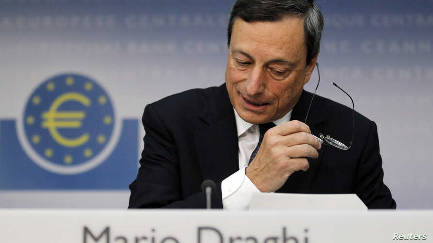 The European Central Bank President Mario Draghi announces the ECB will leave interest rates unchanged and will buy the bonds of debt-ridden countries in the euro currency union, in Frankfurt, Germany, September 6, 2012.