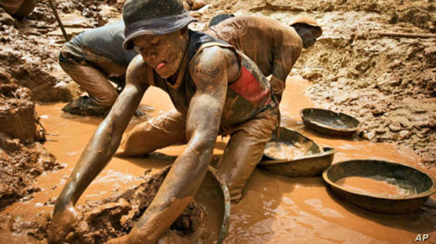 A gold miner scoops mud while digging an open pit at the Chudja mine in the Kilomoto concession near the village of Kobu, 100 km (62 miles) from Bunia in north-eastern Congo, (File)