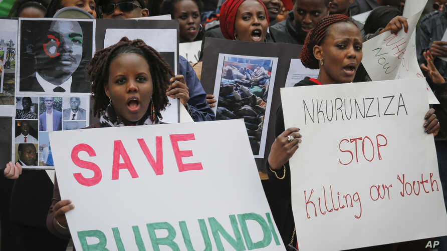 Burundi nationals from across the U.S. and Canada, along with supporters, demonstrate outside U.N. headquarters, calling for an end to political atrocities and human rights violations unfolding in Burundi under the government of President Pierre Nkur