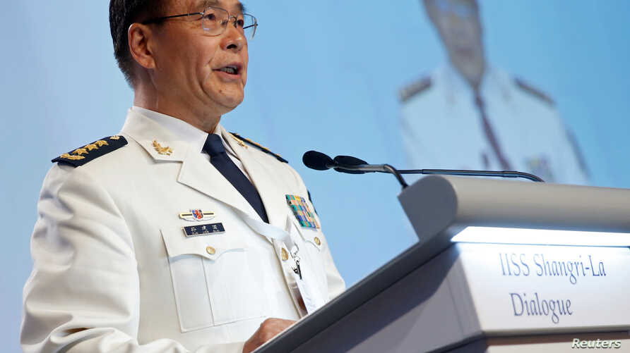 China's Joint Staff Department Deputy Chief Admiral Sun Jianguo speaks at the IISS Shangri-La Dialogue in Singapore, June 5, 2016.