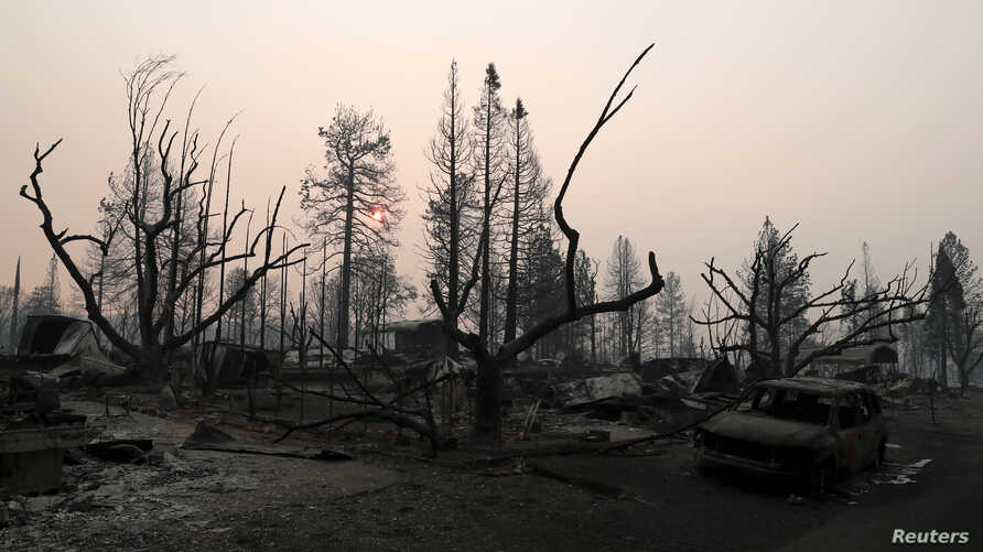 FILE - A neighborhood destroyed by the Camp Fire is seen in Paradise, California, U.S., November 17, 2018.