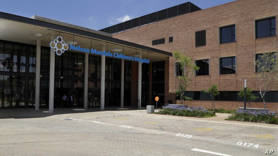 The main entrance the Nelson Mandela Children's Hospital in Johannesburg, South Africa, Friday, Dec. 2, 2016. Nelson Mandela's dream of a hospital to provide specialized care for children has opened in Johannesburg on Friday.