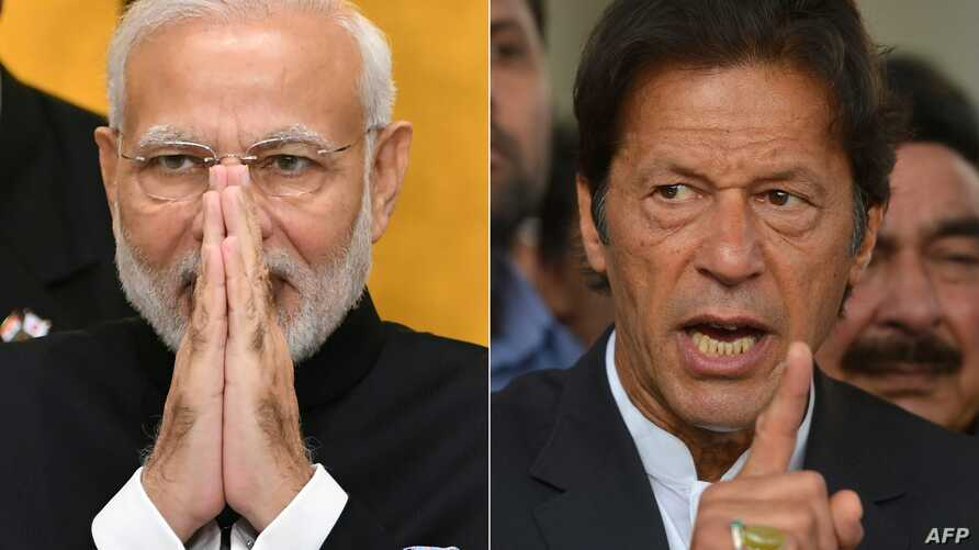 FILE - This combination of file pictures shows, left, India's Prime Minister Narendra Modi on an official visit to Tokyo, Oct. 29, 2018, and, right, Pakistan's Imran Khan speaks to the media in Islamabad, Nov. 3, 2016.