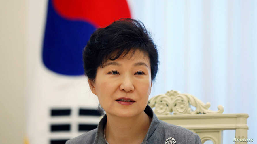 FILE - South Korean President Park Geun-hye speaks during an interview at the Presidential Blue House in Seoul Sept. 16, 2014.