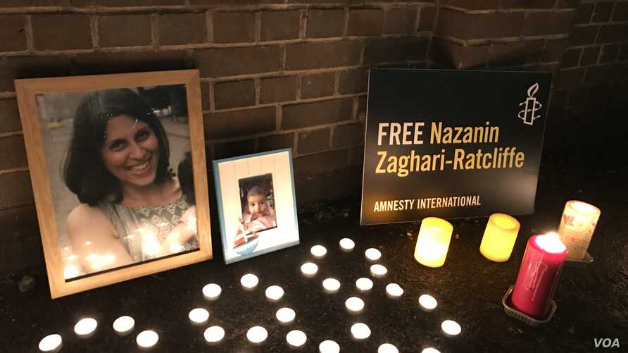 Nazanin Zaghary-Ratcliffe, a British-Iranian woman detained in Iran, has been held for 288 days on unspecified security charges. A vigil was held in London, Jan. 16, 2017. (Photo courtesy of Amnesty International)