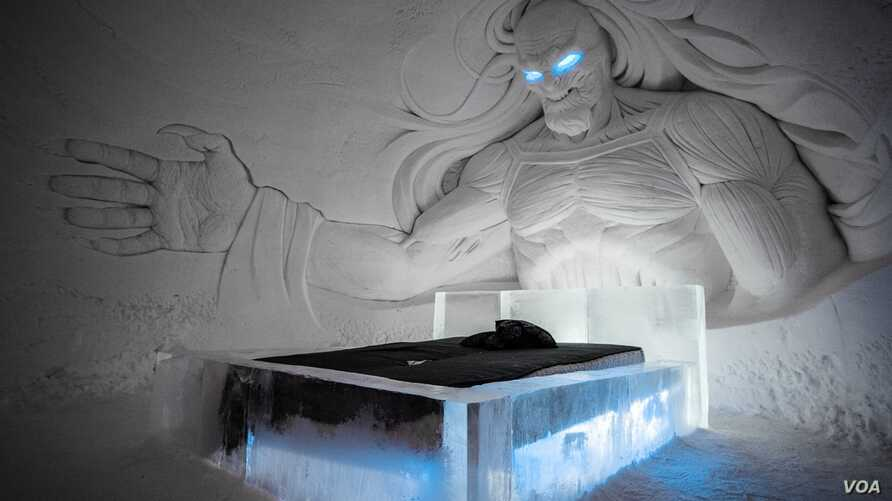 The Night King looms over a bed at the Game of Thrones ice hotel built by Lapland Hotels in northern Finland. (Lapland Hotels SnowVillage)