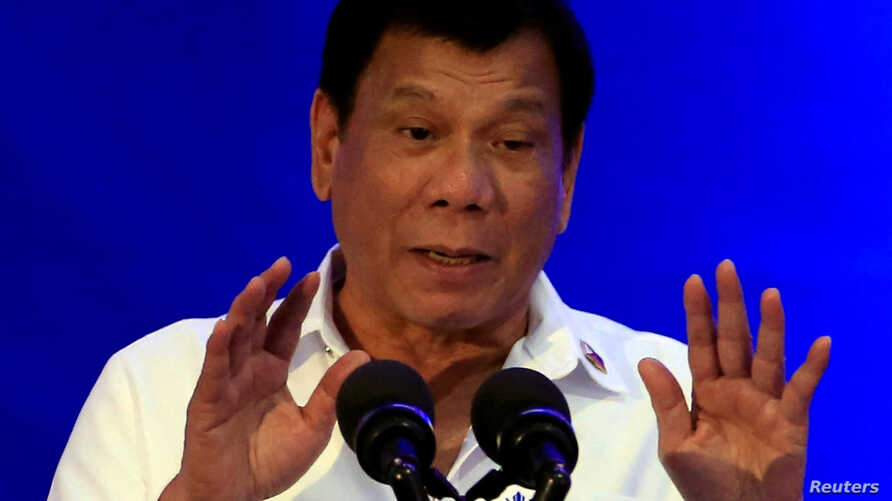 Philippine President Rodrigo Duterte delivers a speech during the 80th National Bureau of Investigation anniversary, Nov. 14, 2016. On Thursday Duterte said he might withdraw from the International Criminal Court.