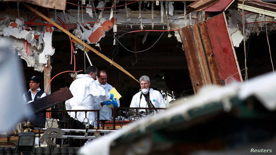 The scene of an explosion at a Marrakesh cafe, April 29, 2011, where a bomb killed 15 people in an attack by suspected Islamist militants.