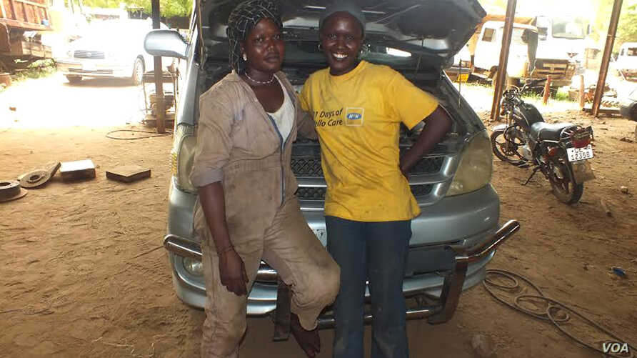 Elizabeth Yacob (R) was hired on the spot when she applied for a job as a car mechanic in Juba, South Sudan. Her colleague, Diane Andrew (L), used to be a tea lady but made the leap to servicing cars to make more money.