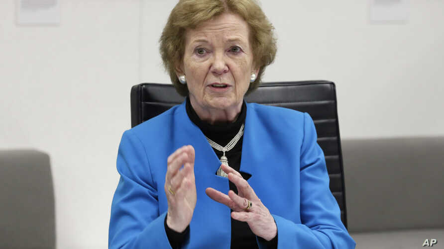 FILE - Former President of Ireland and former High Commissioner for Human Rights Mary Robinson speaks during a meeting at Associated Press headquarters, in New York, May 8, 2017.