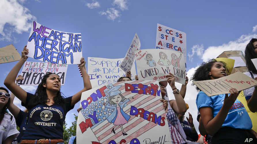 Supporters of Deferred Action for Childhood Arrival program (DACA) demonstrate in front of the White House, Sept. 9, 2017.