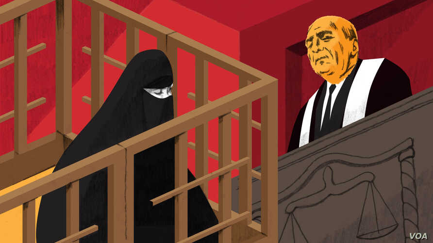 Illustration of a woman standing inside a cage at a trial in Iraq.