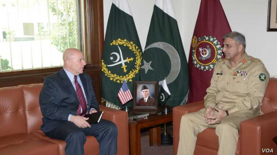 US NSA General McMaster met with Pakistan army chief Gen Qamar Javed Bajwa, April 17.