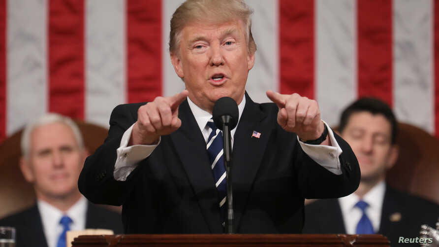 U.S. President Donald Trump delivers his first address to a joint session of Congress
