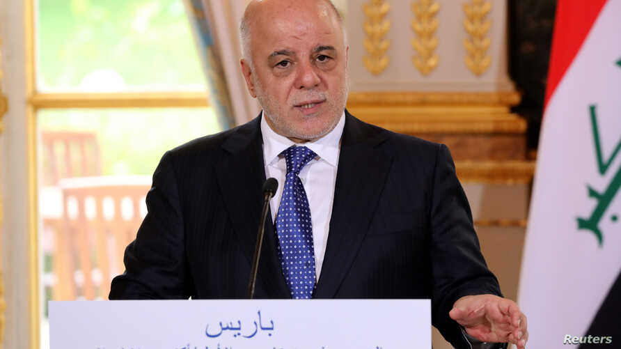 Iraqi Prime minister Haider Al-Abadi speaks during a joint news conference with French President Emmanuel Macron (not seen) at the Elysee Palace in Paris, France, Oct. 5, 2017.