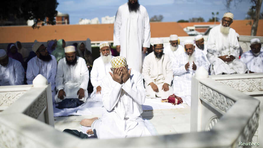 Shi'ite Muslim pilgrims from India pray at a shrine, located on the grounds of Barzilai Medical Center in the coastal town of Ashkelon, Israel, Feb. 8, 2015.