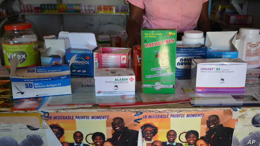 Malaria drugs are seen on display in a privatley owned pharmacy in Blantyre, Malawi. (L. Masina/VOA). Seventy percent of malaria drugs are disappearing from medical facilities around the country, a study found.