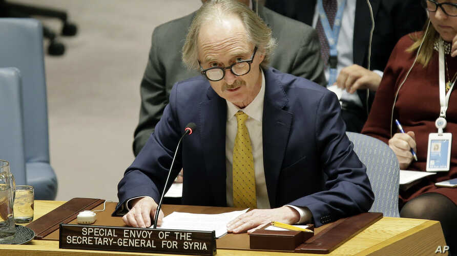 Geir Pedersen, The United Nations Special Envoy for Syria, speaks during a Security Council meeting at U.N. headquarters, Feb. 28, 2019.