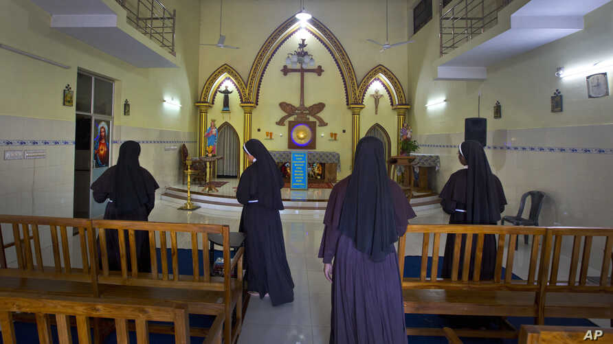 Nuns who have supported the accusation of rape against Bishop Franco Mulakkal leave after offering prayers at a chapel in St. Francis Mission Home, in Kuravilangad in southern Indian state of Kerala, Nov. 4, 2018.