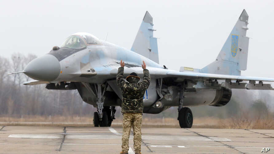 A Ukrainian MIG-29 fighter jet is parked at the Vasilkov air base outside outside Kyiv, Ukraine, Nov. 23, 2016.  A Polish version of the MIG-29 crashed Monday in central Poland.
