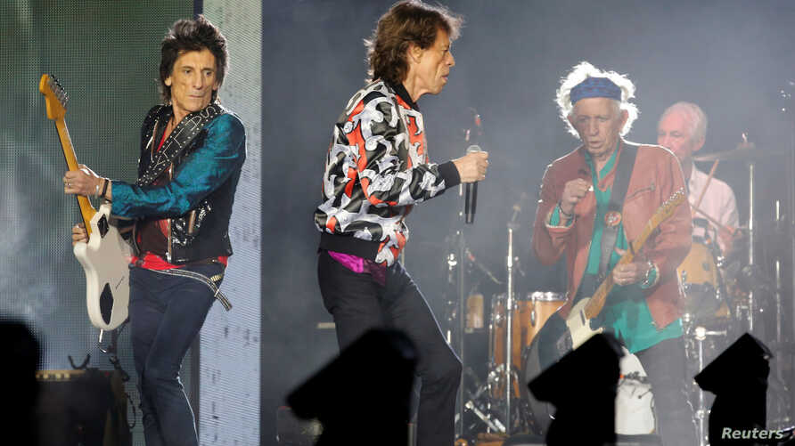"FILE - Mick Jagger, Keith Richards, Ron Wood and Charlie Watts of the Rolling Stones perform during a concert of their ""No Filter"" European tour at the Orange Velodrome stadium in Marseille, France, June 26, 2018."