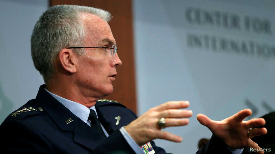 Vice Chairman of the Joint Chiefs of Staff U.S. Air Force General Paul Selva speaks at the Center for Strategic and International Studies in Washington, U.S., October 28, 2016.