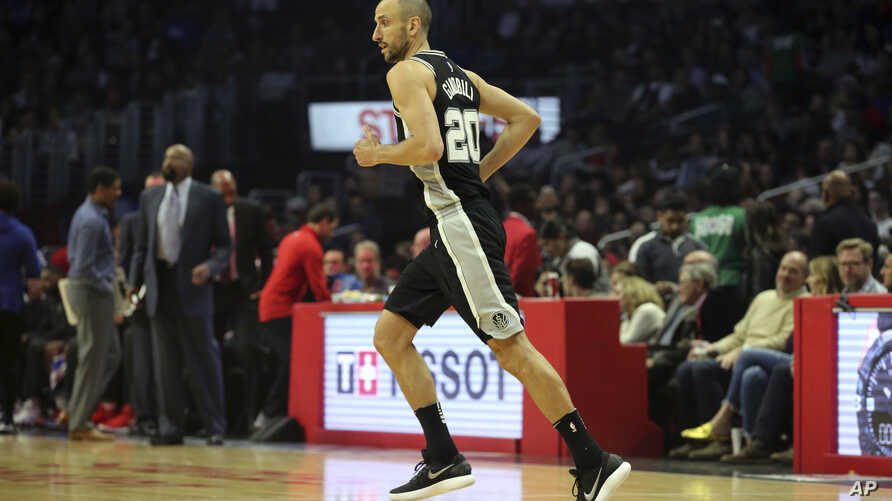 San Antonio Spurs guard Manu Ginobili (20), of Argentina, in action against the Los Angeles Clippers in the first quarter of an NBA basketball game in Los Angeles Tuesday, April 3, 2018.
