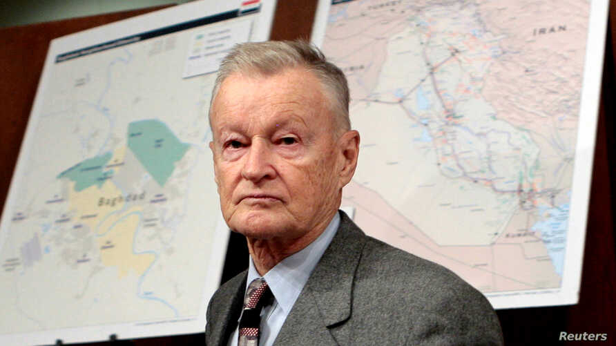 FILE - In this Feb. 1, 2007, photo, former U.S. National Security Adviser Zbigniew Brzezinski arrives to testify before the Senate Foreign Relations Committee on Capitol Hill in Washington,