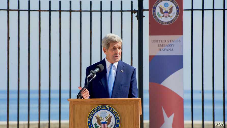 U.S. Secretary of State John Kerry delivers remarks at the flag-raising ceremony at the newly re-opened U.S. Embassy in Havana, Cuba, on August 14, 2015.