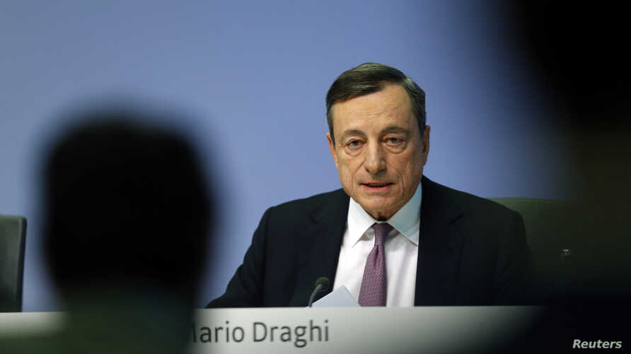 European Central Bank (ECB) President Mario Draghi holds a news conference at the ECB headquarters in Frankfurt, Germany, March 7, 2018.