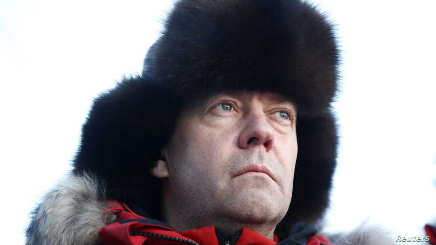 Russian Prime Minister Dmitry Medvedev visits Alexandra Land in remote Arctic islands of Franz Josef Land, Russia, March 29, 2017.