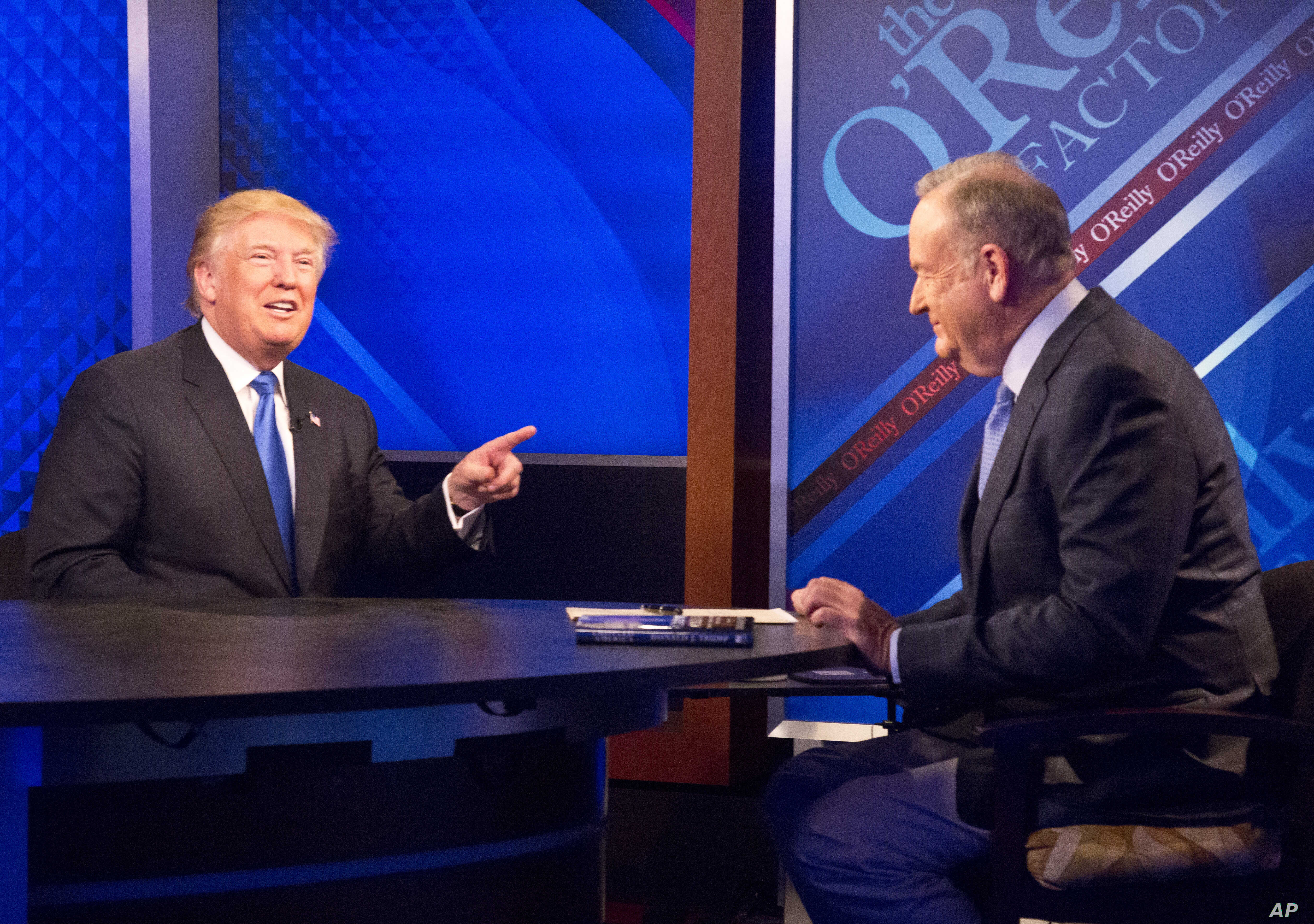 "Republican presidential candidate Donald Trump, left, is interrviewed by Bill O'Reilly on Fox's news talk show ""The O'Reilly Factor,"" Nov. 6, 2015, in New York."