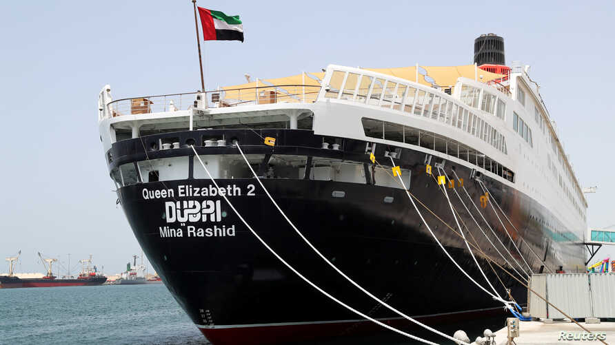 The Queen Elizabeth II cruise ship, launched as a hotel, is seen at Rashid port in Dubai, UAE, April 18, 2018.