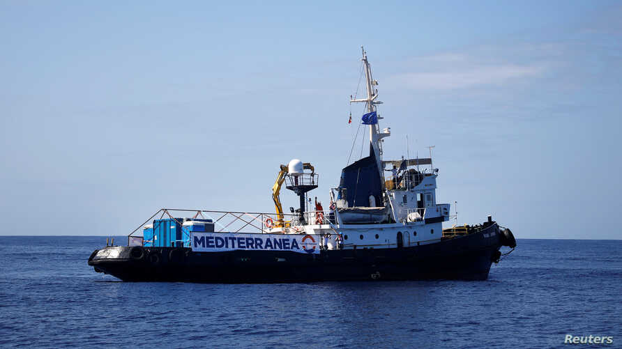 """FILE - The Italian-flagged rescue vessel Mare Jonio sails as it takes part in the """"Mediterranea - Saving Humans"""" project in the central Mediterranean Sea, Oct. 6, 2018."""