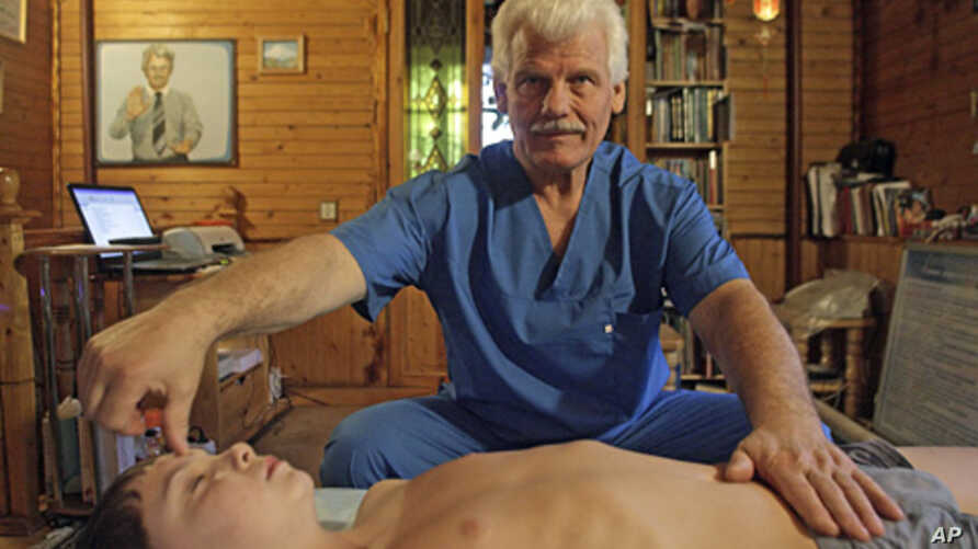 A Russian healer at work (file photo)
