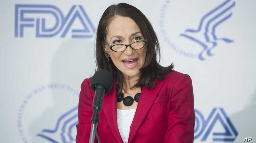 FILE - Margaret Hamburg, Commissioner of the U.S. Food and Drug Administration, speaks at a news conference at the National Press Club in Washington, Feb. 4, 2014.