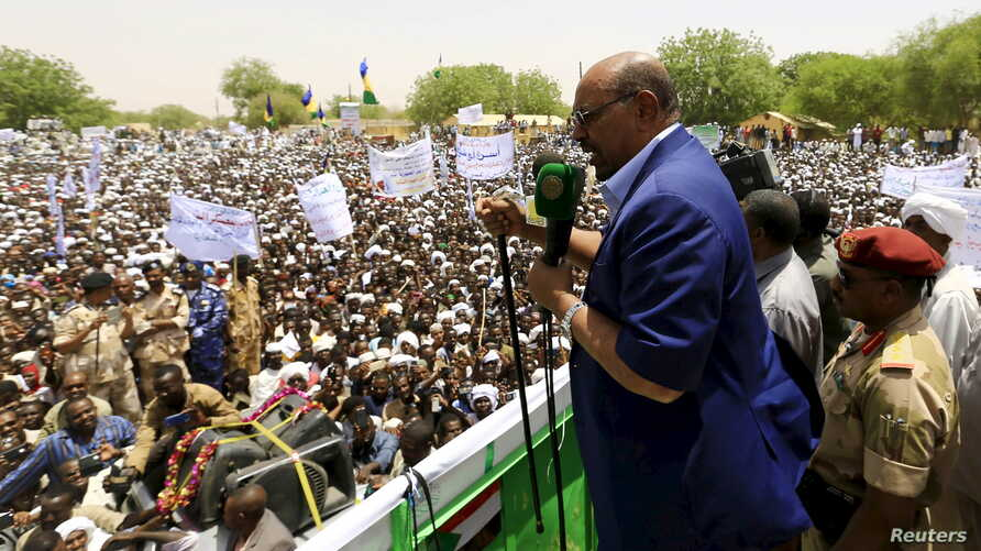 Sudanese President Omar Hassan al-Bashir addresses the crowd during a campaign rally in East Darfur, April 5, 2016.