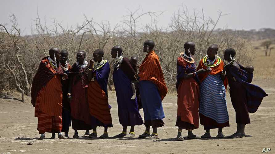 FILE - Maasai tribeswomen gather at a village on the outskirts of the Serengeti, in northern Tanzania, Aug. 12, 2013. Commercial deals in agribusiness, tourism and mining have displaced thousands of people in Tanzania and Mozambique over the last dec