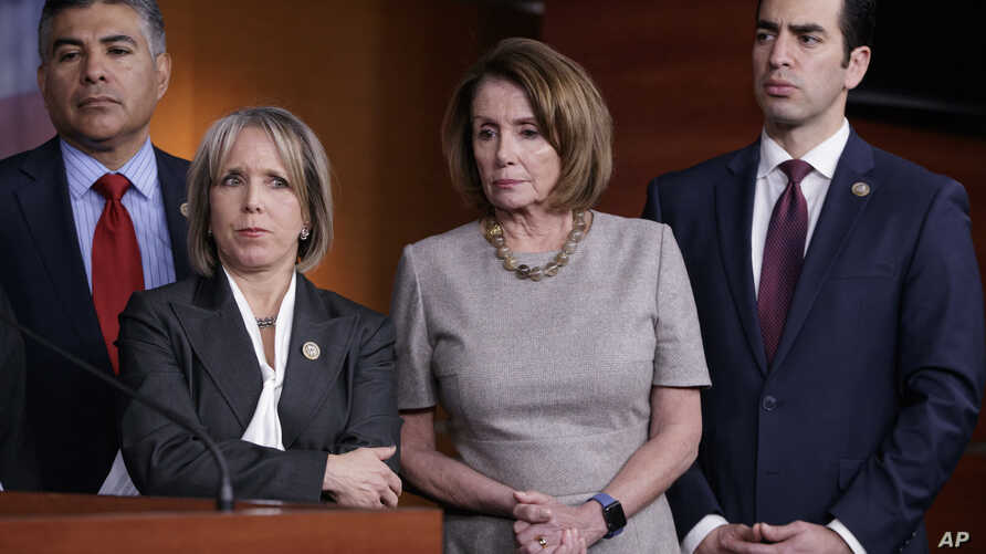 House Minority Leader Nancy Pelosi of Calif., center, joined by, from left, Rep. Tony Cardenas, D-Calif., Rep. Michelle Lujan Grisham, D-N.M., and Rep. Ruben Kihuen, D-Nev., speaks during a news conference on Capitol Hill, Feb. 16, 2017, after a clos