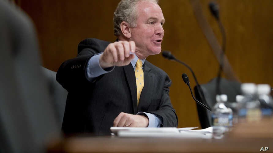 Sen. Chris Van Hollen, D-Maryland, questions EPA Administrator Scott Pruitt as he testifies before a Senate Appropriations subcommittee on Capitol Hill, May 16, 2018.