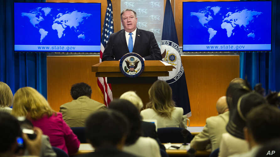 Secretary of State Mike Pompeo announces the creation of the Iran Action Group at the State Department, in Washington, Aug. 16, 2018.