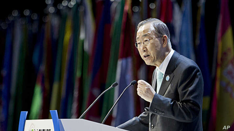 UN Secretary-General Ban Ki-moon addresses the opening session of the World Future Summit in Abu Dhabi, UAE, January 16, 2012.