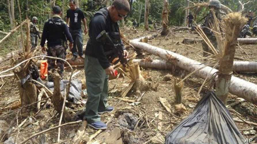 Philippine forces examine site where three most wanted leaders of al-Qaida-linked terrorist groups Abu Sayyaf and Jemaah Islamiyah were among those allegedly killed.