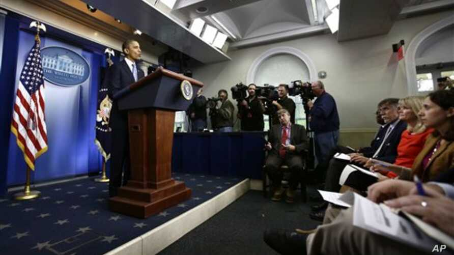 President Barack Obama speaks in the White House Briefing Room in President Barack Obama speaks preparations for Hurricane Sandy, in the White House Briefing Room in Washington, October 29, 2012.