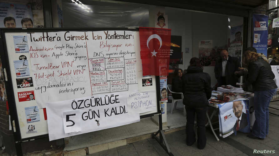 A board shows the alternative ways to access Twitter, is placed at an election campaign office of the main opposition Republican's People's Party (CHP) in Istanbul, March 25, 2014.