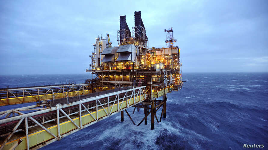 FILE - A section of the BP Eastern Trough Area Project (ETAP) oil platform is seen in the North Sea, around 100 miles east of Aberdeen in Scotland, Feb. 24, 2014.
