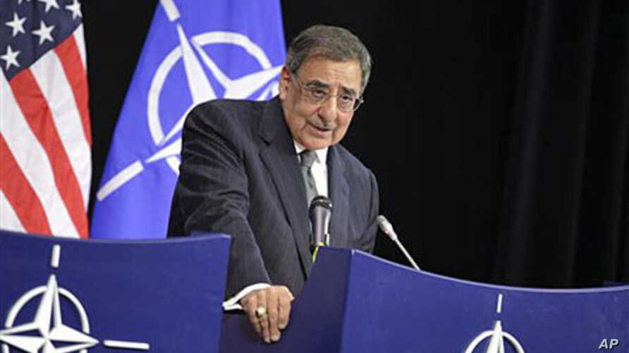 United States Secretary of Defense Leon Panetta speaks during a media conference at NATO headquarters in Brussels, April 18, 2012.
