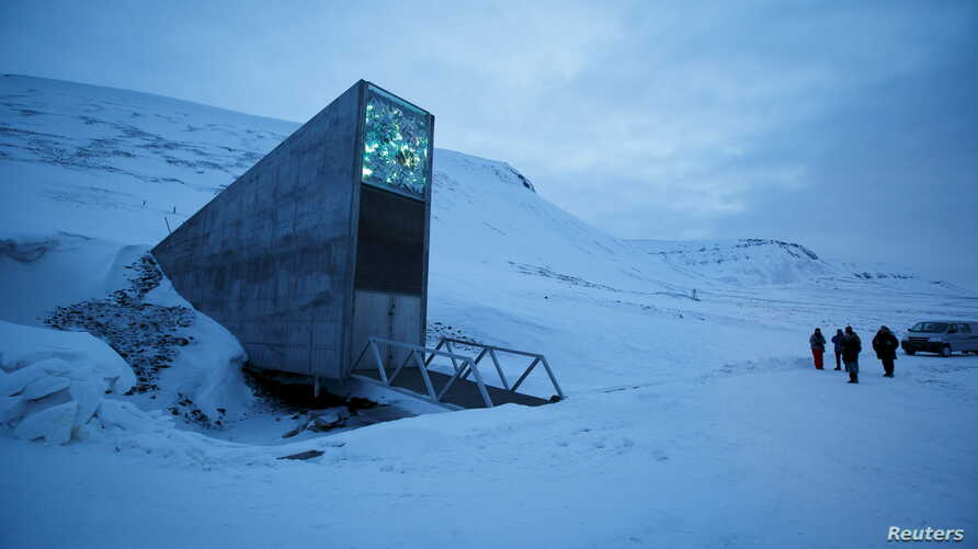 FILE - The entrance to the international gene bank Svalbard Global Seed Vault (SGSV) is pictured outside Longyearbyen on Spitsbergen, Norway, Feb, 29, 2016.